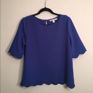 Francesca's royal blue scallop edge blouse